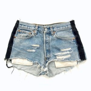 Levi's 501 Reworked Blue Denim Side Stripe Shorts